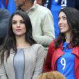 Ludivine Sagna (la femme de Bacary Sagna) et Jennifer Giroud (la femme d'Olivier Giroud) lors du match du quart de finale de l'UEFA Euro 2016 France-Islande au Stade de France à Saint-Denis, France le 3 juillet 2016. © Cyril Moreau/Bestimage