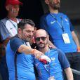 Arnaud Ducret et Cartman (aka Sébastien Patoche, de son vrai nom Nicolas-Bonaventure Ciattoni) - People assistent à la demi-finale de l'Euro 2016 Allemagne-France au stade Vélodrome à Marseille, France, le 7 juillet 2016. © Cyril Moreau/Bestimage