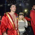 Hayden Panettiere et son compagnon Vladimir Klitschko - Tyson Fury, le nouveau champion du monde de boxe WBA-IBF-WBO des poids lourds, après avoir fait tomber l'Ukrainien Vladimir Klitschko à Dusseldorf le 28 novembre 201
