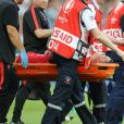 Sortie de Cristiano Ronaldo sur une civière après une blessure lors du match de la finale de l'Euro 2016 Portugal-France au Stade de France à Saint-Denis, France, le 10 juin 2016. © Cyril Moreau/Bestimage