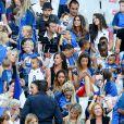 Marine Lloris (La Femme de Hugo Loris), Ludivine Sagna (Femme de Bacary Sagna), Ludivine Payet (la femme de Dimitri Payet), ses fils milan et Noa, Camille Sold (Compagne de Morgan Schneiderlin), Sandra Evra (Femme de Patrice Evra) et Sephora (la compagne de Kingsley Coman) lors du match de la finale de l'Euro 2016 Portugal-France au Stade de France à Saint-Denis, France, le 10 juin 2016. © Cyril Moreau/Bestimage