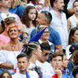 Alain et Isabelle (Parents d'Antoine Griezmann) et Erika Choperena (Compagne de Antoine Griezmann) lors du match de la finale de l'Euro 2016 Portugal-France au Stade de France à Saint-Denis, France, le 10 juin 2016. © Cyril Moreau/Bestimage