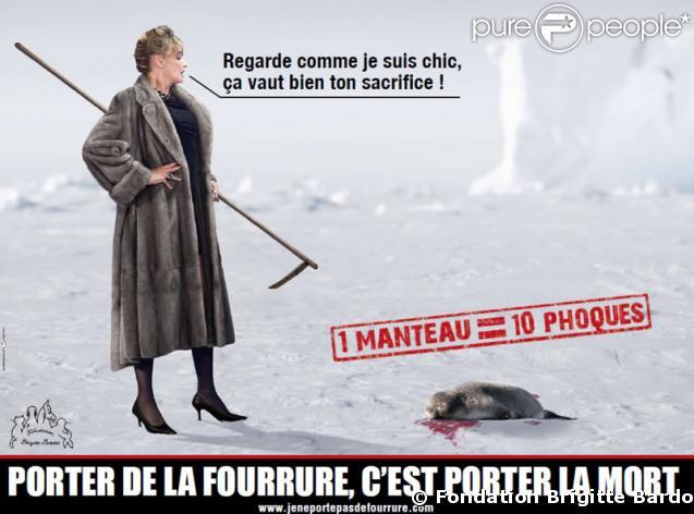 La nouvelle affiche de la campagne anti-fourrure de la Fondation Brigitte Bardot