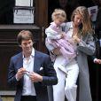 Gisele Bündchen, son mari Tom Brady et de leurs enfants Benjamin Brady et Vivian Lake Brady à New York le 29 avril 2016.