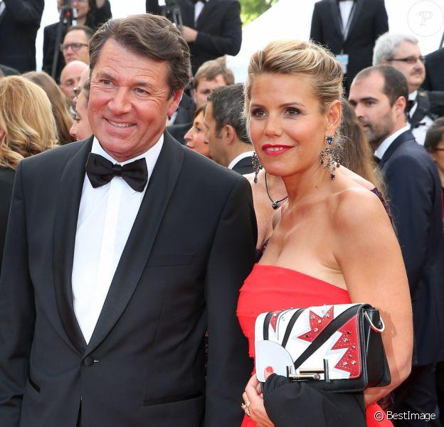 """Denise Fabre, Christian Estrosi et sa compagne Laura Ténoudji (Télématin) - Montée des marches du film """"Café Society"""" pour l'ouverture du 69ème Festival International du Film de Cannes. Le 11 mai 2016."""