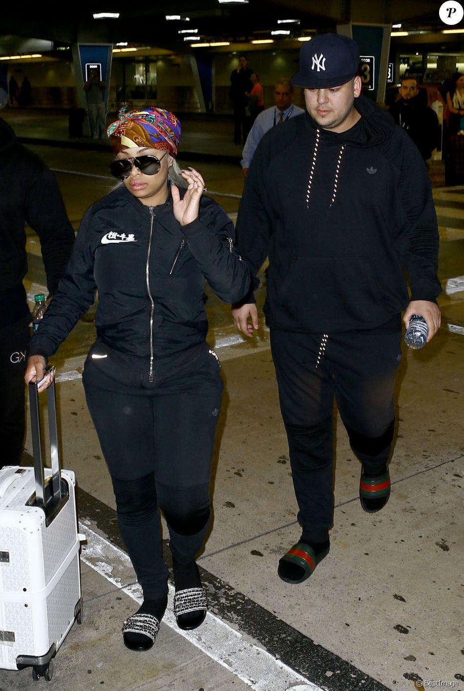 Blac Chyna enceinte et son fiancé Rob Kardashian arrivent à l'aéroport de Miami, le 11 mai 2016