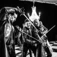 """Exclusif - Damien Sargue, Olivier Dion et David Ban - Backstage du tournage du clip """"De mes propres ailes"""" du groupe """"Les 3 mousquetaires"""". Le 12 avril 2016 © Andred / Bestimage"""