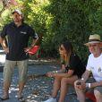 Semi-exclusif - Philippe Candeloro et sa femme Olivia avec Michael Jones lors du 9e Star West Pétanque à Arcachon, France, le 7 août 2016. © Jean-Marc Lhomer/Bestimage