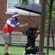 Blac Chyna enceinte et son fiancé Rob Kardashian sur le tournage de leur téléréalité à Washington le 4 juillet 2016.