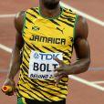 Usain Bolt - Les jamaïcains deviennent champions du monde en remportant le relais 4x100 lors du championnats du monde d'athlétisme à Pékin, le 29 août 2015.29/08/2015 - Pékin