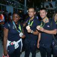 Gwladys Épangue, Guillaume Raineau et Franck Solforosi -Retour à Paris des athlètes français des Jeux olympiques de Rio 2016 à l'aéroport de Roissy le 23 août 2016.