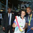 Teddy Riner et Tony Estanguet -Retour à Paris des athlètes français des Jeux olympiques de Rio 2016 à l'aéroport de Roissy le 23 août 2016.