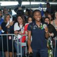 Siraba Dembélé -Retour à Paris des athlètes français des Jeux olympiques de Rio 2016 à l'aéroport de Roissy le 23 août 2016.