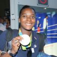 Gnonsiane Niombla -Retour à Paris des athlètes français des Jeux olympiques de Rio 2016 à l'aéroport de Roissy le 23 août 2016.
