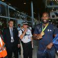 Teddy Riner -Retour à Paris des athlètes français des Jeux olympiques de Rio 2016 à l'aéroport de Roissy le 23 août 2016.