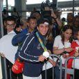 Sofiane Oumiha -Retour à Paris des athlètes français des Jeux olympiques de Rio 2016 à l'aéroport de Roissy le 23 août 2016.