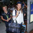 Manon Houette et Laura Glauser -Retour à Paris des athlètes français des Jeux olympiques de Rio 2016 à l'aéroport de Roissy le 23 août 2016.