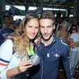Élodie Clouvel et son compagnon Valentin Belaud -Retour à Paris des athlètes français des Jeux olympiques de Rio 2016 à l'aéroport de Roissy le 23 août 2016.