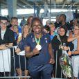 Émilie Andéol -Retour à Paris des athlètes français des Jeux olympiques de Rio 2016 à l'aéroport de Roissy le 23 août 2016.