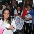 Sarah Ourahmoune -Retour à Paris des athlètes français des Jeux olympiques de Rio 2016 à l'aéroport de Roissy le 23 août 2016.