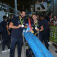 Luka Karabatic et Renaud Lavillenie -Retour à Paris des athlètes français des Jeux olympiques de Rio 2016 à l'aéroport de Roissy le 23 août 2016.