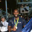 Teddy Riner - Retour à Paris des athlètes français des Jeux olympiques de Rio 2016 à l'aéroport de Roissy le 23 août 2016.