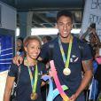 Tony Yoka et sa fiancée Estelle Mossely - Retour à Paris des athlètes français des Jeux olympiques de Rio 2016 à l'aéroport de Roissy le 23 août 2016.