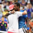 Gaël Monfils s'impose face à Lucas Pouille lors des quarts de finale de l'US Open 2016 au USTA Billie Jean King National Tennis Center à Flushing Meadow, New York, le 6 septembre 2016.