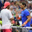 Lucas Pouille et Rafael Nadal - Le Françaissort l'Espagnol lors du quatrième tour de l'US Open 2016 au USTA Billie Jean King National Tennis Center à Flushing Meadow, New York, le 4, Septembre 2016.