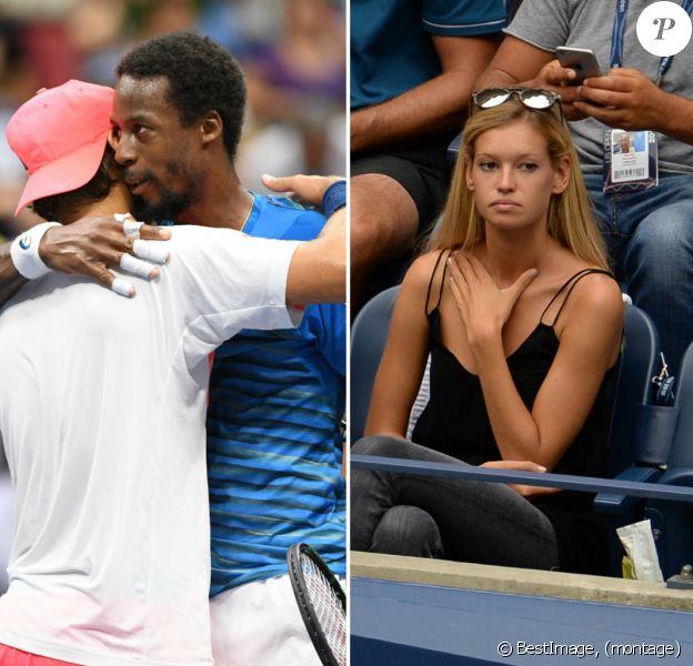 Gaël Monfils s'impose face à Lucas Pouille lors des quarts de finale de l'US Open 2016 au USTA Billie Jean King National Tennis Center à Flushing Meadow, New York, le 6 septembre 2016. En tribune, Clémence Bertrand assisté à la défaite de son amoureux.