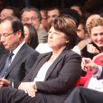 Francois Hollande, Martine Aubry, Manuel Valls, Julie Gayet - Convention d'investiture de Francois Hollande à la tête du PS pour l'election présidentielle de 2012 à la Halle Freyssinet à Paris, le 22 octobre 2011.