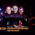 Céline Dion avec l'image des trois hommes de sa vie, son père Adhémar, son mari René et son frère Daniel, tous trois emportés par la maladie, lors de son interprétation de Recovering, chanson écrite pour elle par Pink, lors de la soirée télévisée de bienfaisance Stand up to Cancer produite par Bradley Cooper, le 9 septembre 2016 à Los Angeles.