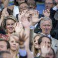 Le roi Philippe et la reine Mathilde de Belgique le 9 septembre 2016 au stade Roi Baudouin à Bruxelles lors du Memorial Van Damme, dernière étape de la Diamond League. © Danny Gys/Reporters/ABACAPRESS.COM