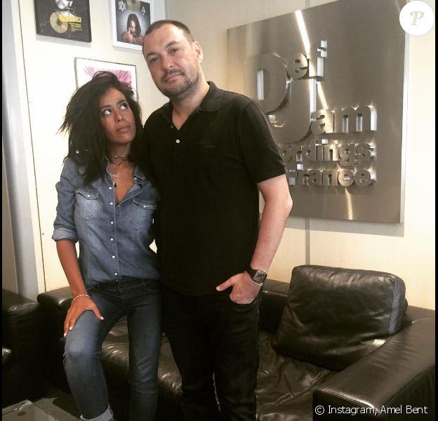 Amel Bent et son manager Benjamin Chulvanij, patron de Dej Jam France, sur Instagram, le 16 septembre 2016.