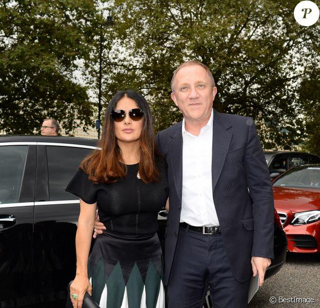 Salma Hayek et son mari François-Henri Pinault -Défilé Christopher Kane (printemps-été 2017) à la Tate Britain. Londres, le 19 septembre 2016.