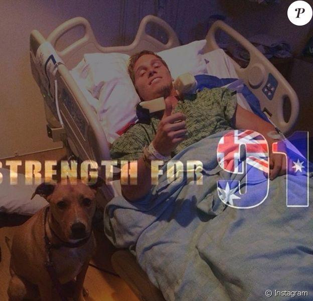 Sam Willoughby sur son lit d'hôpital : le double champion du monde et vice-champion olympique 2012 de BMX, est paralysé suite à une grave chute à l'entraînement le 10 septembre 2016 en Californie. Photo Instagram de sa fiancée Alise Post.