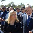 Benyamin Netanyahou et sa femme Sara, Barack Obama - Obsèques de Shimon Pérès, au cimetière national du mont Herzl à Jérusalem. Israël, le 30 septembre 2016.