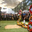 Reuven Rivlin, Barack Obama et Benjamin Netanyahu aux obsèques de Shimon Pérès, au cimetière national du mont Herzl à Jérusalem. Israël, le 30 septembre 2016. © Marc Sellem-Jerusalem Post/Bestimage