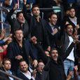 Camille Lacourt, Jean-Luc Reichmann, Ary Abittan lors du match PSG - Bordeaux au Parc des Princes le 1er octobre 2016. © Cyril Moreau / Bestimage