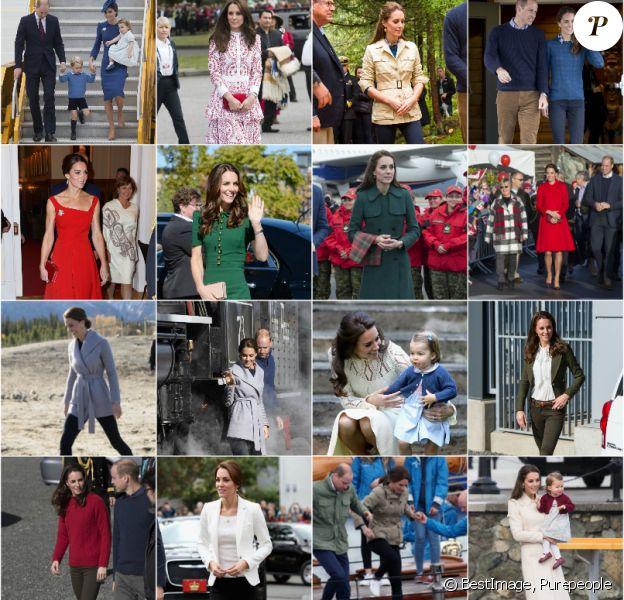 Kate Middleton, duchesse de Cambridge, a fait sensation avec ses looks lors du royal tour au Canada, du 24 septembre au 1er octobre 2016. Une garde-robe éclectique pour un montant record... Photomontage Purepeople.