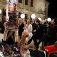 Kim Kardashian, Kourtney Kardashian, leur mère Kris Jenner et son compagnon Corey Gamble - Défilé Givenchy par Riccardo Tisci (collection prêt-à-porter printemps-été 2017) à Paris, le 2 octobre 2016. © Olivier Borde/Bestimage