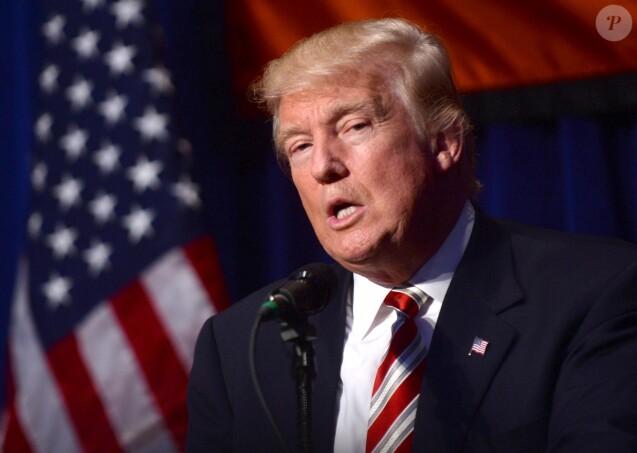 Le candidat aux primaires pour les élections présidentielles Donald Trump lors d'une réception au parti des Conservateurs à New York. Le 7 septembre 2016