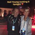 Laeticia Hallyday a préféré le concert de Neil Young lors de son passage avec Johnny Hallyday à Indio, le 16 octobre 2016.