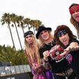 Exclusif - Steel Panther (groupe de comedy rock et glam metal américain originaire d'Hollywood) posent lors d'un photocall à l'occasion du MIPCOM à Cannes, le 17 octobre 2016. Ils sont connus pour leurs paroles humoristiques et polémiques. © Bruno Bebert/Bestimage