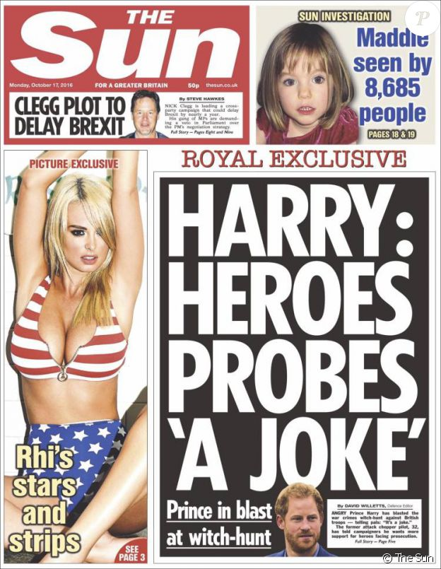 Une du tabloïd The Sun du 17 octobre 2016, sur le prince Harry.
