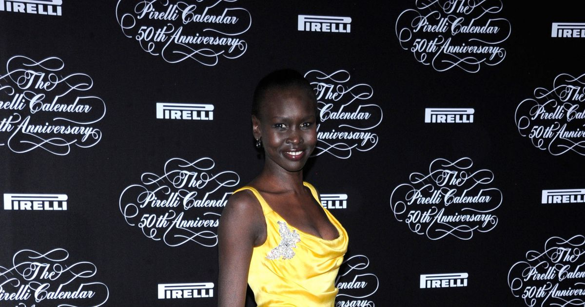 alek wek soiree de lancement du calendrier pirelli 2014 a milan le 21 novembre 2013. Black Bedroom Furniture Sets. Home Design Ideas