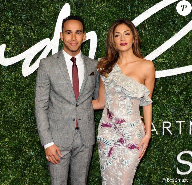 """Lewis Hamilton , Nicole Scherzinger à la Soirée des """"British Fashion Awards"""" à Londres. Le 1er décembre 2014"""