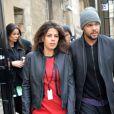 Jo-Wilfried Tsonga et sa compagne Noura El Swekh au défilé Y-3 au Couvent des Cordeliers à Paris, le 25 janvier 2015. Le couple attend son premier enfant pour 2017.