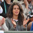 Evelyne Tsonga et Noura El Swekh lors du match entre Jo-Wilfried Tsonga et Jerzy Janowicz aux Internationaux de France de tennis de Roland-Garros à Paris, le 30 mai 2014.