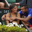 Jo-Wilfried Tsonga and sa compagne Noura El Swekh le 14 septembre 2014 lors de la demi-finale de Coupe Davis entre la France et la République tchèque à Roland-Garros. Le couple attend son premier enfant pour 2017.
